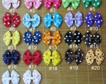 "Set of 22 pieces 3 inch hair bows, 3"" hair bows, dots ribbon hair bows 22 colors to pick attached with a 45mm single prong alligator clip"