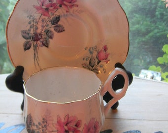 Royal Imperial Bone China Tea Cup & Saucer.RARE style. beautifully unique shape.Excellent vintage
