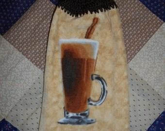 Crochet Top Latte Towel Kitchen Towel Crochet Towel