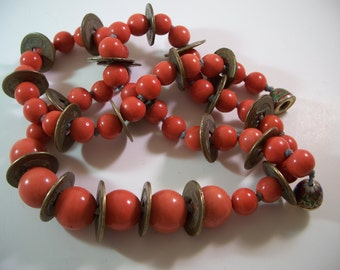 Vintage Coral Peking Glass Chinese Coin Statement Necklace