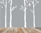 Birch Tree Wall Decal - Forest Scene for Children's Room - Removable Matte Vinyl Wall Decal