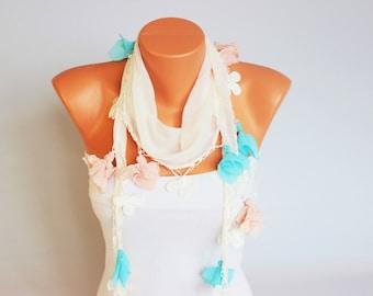 SUMMER SCARF ivoryTurkish Oya Scarf ,  turkish yemeni ,hand crocheted lace border scarf
