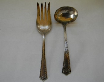 LADLE and FORK, 2 Simeon L. & George H. Rogers Silverplate Serving Pieces, KINGSTON Pattern, Circa 1929