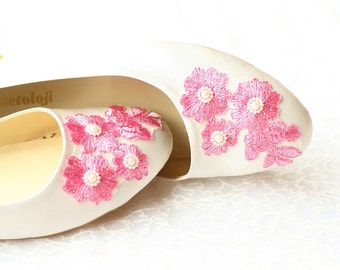 Wedding Flat Shoes Ivory Satin Bridal Ballet Flats with Lace Bride Engagement Special Night Size 9 (US)