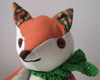 Fabric articulated fox, patchwork