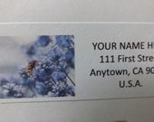 Purple Lavender Flower  and Bee Return Address Label
