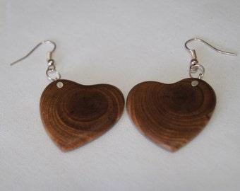 Olive Wood Earrings, Hearts