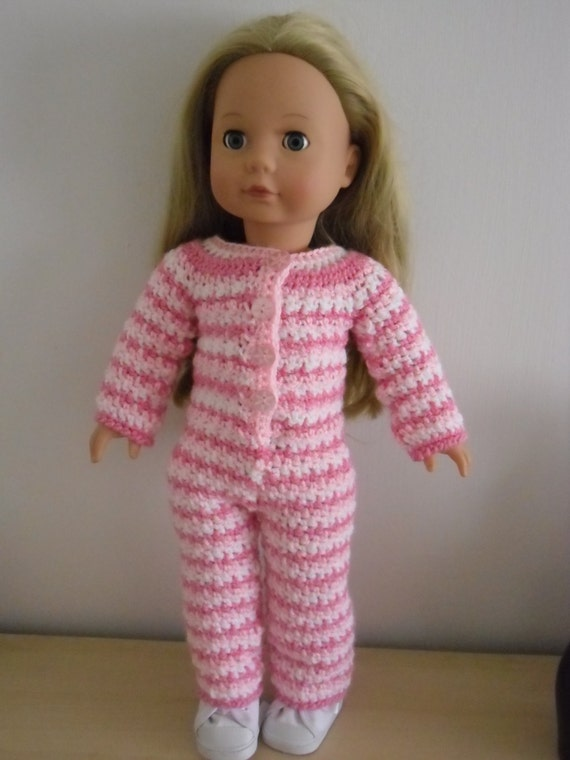 Crochet Patterns Doll Clothes Free : PDF Crochet pattern for a striped onesie for 18 inch doll