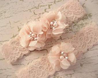 Hand Dyed Blush Wedding Garter Set with Toss Garter in Blush  , Bridal Garter with Chiffon Blossoms pearls and rhinestones
