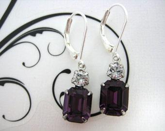 Swarovski Crystal 10x8mm Amethyst Purple Rhinestone Dangle Earrings Set in Silver Settings