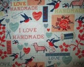 I Love Handmade Sewing Craft Items Cotton Fabric Fat Quarter Or Custom Listing