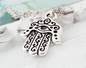 Hamsa Hand Necklace. Silver Hamsa Pendant. Hamsa Hand  Charm. Small Silver Charm. Symbolic Evil Eye Amulet. Protective Jewelry