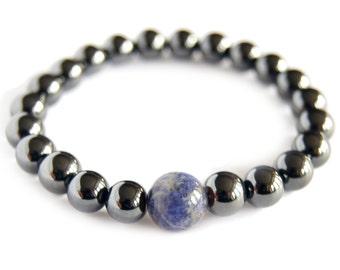 Sodalite - SAGITTARIUS Zodiac Bracelet - Magnetic Hematite Energy Gemstone, Astral Stone, Yoga, Stack, Mediation Bracelet, Focus Stone