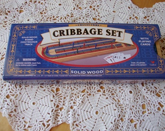 Travel Cribbage Set,  Complete Travel Cribbage Set, Cribbage Board Wood with Cards in Tin Box, Cardinal Travel Cribbage Set