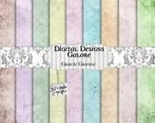 Gracie Grunge Digital Paper Pack Set of 9 - Vintage 12 x 12 Digital Papers  - Vintage Spring Pinks, Lavender, Greens, Blue, Orange, Lilac