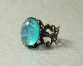Romantic Mint Blue Ring, Aqua Blue  Ring, Medium Turquoise Blue Antique Bronze Filigree Adjustable Ring , Wedding Bridesmaid Gift for Her