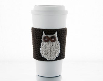 Coffee cozy, coffee sleeve, chocolate brown sleeve, natural beige woodland owl, crocheted, cup sleeve