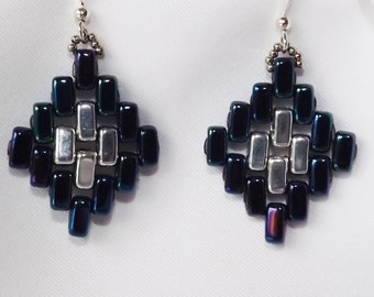 Hand beaded handcrafted earrings, Czech brick seed beads, Navy Blue and Silver