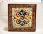 ON SALE Mexican tile trivet/ vintage bohemian decor/ tile trivet with carved wood - BohoRain