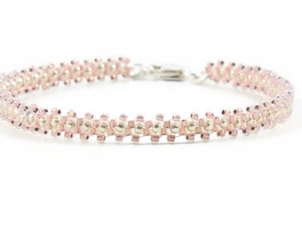 Layering Bracelet - Beaded Bracelet - Seed Bead Jewelry - Pink Chain Bracelet - Rose Opal - Beadwork Jewelry - Daisy Chain Bracelet