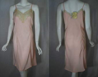 1940s Peach Rayon Slip, 40, Large, X large, New Form,  new old stock