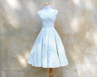 1950s Jonathon Logan green and white polka dot summer dress - 50s full skirt party dress - medium