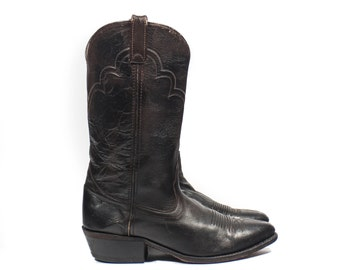 9 D | Men's Vintage Cowboy Boots Chocolate Brown Leather Western Boots
