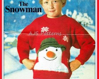 PDF Knitting pattern for a Childs Festive Christmas Snowman Face Sweater - Instant Download