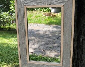 SOLD  Handcrafted Medium Industrial Rustic Barnwood Mirror no.1404