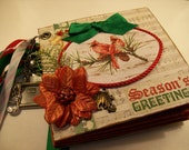 Chipboard Mini Scrapbook Album Season's Greetings w/ Premade Pocket Pages