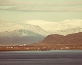 Iceland Mountain Range across the harbor Esjan snow capped landscape photography brown blue