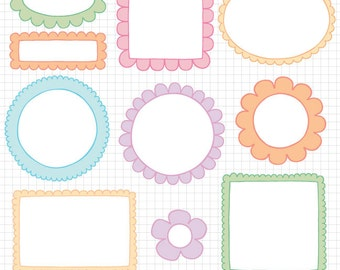 Easter Clipart Doodle Borders - Digital Frame Downloadable Images