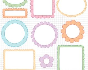 Easter Clipart Doodle Borders - Digital Frame Downloadable Images
