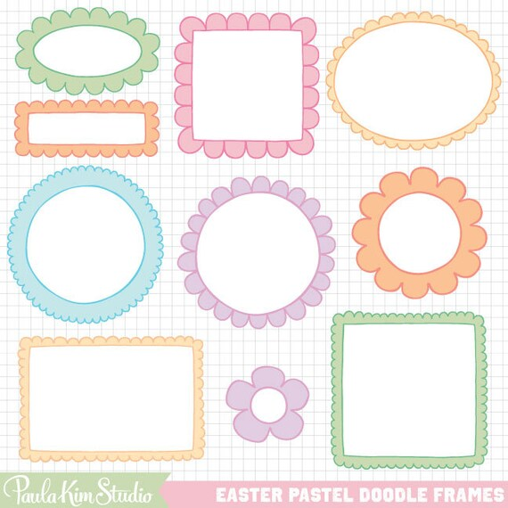 easter clipart doodle borders digital frame downloadable images by