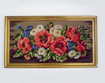 Large Vintage Flowers Bouquet Embroidered Framed Needlepoint Wall Hanging