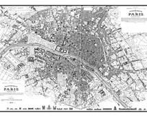 Vintage Paris Street Map Street Map Poster Print