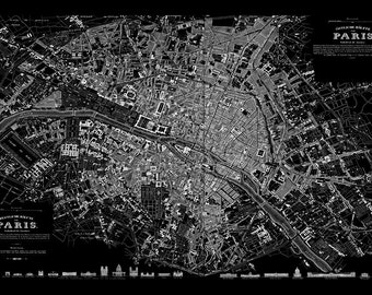 Vintage Paris Street Map Black Print Poster
