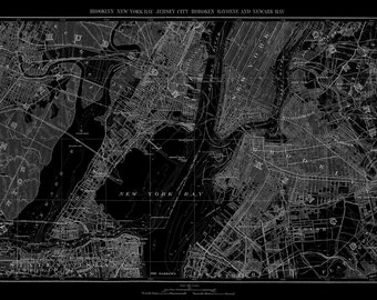 New York City Map Map of Newark New York Brooklyn Vintage Black Print Poster
