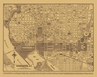 Washington DC Street Map Vintage Sepia Print Poster