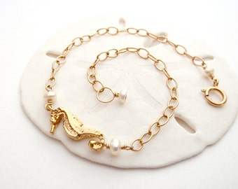 Seahorse Bracelet - 14k Gold Fill, Gold Vermeil, Freshwater Pearls