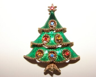 JJ Vintage Green Christmas Tree Brooch with Rhinestones