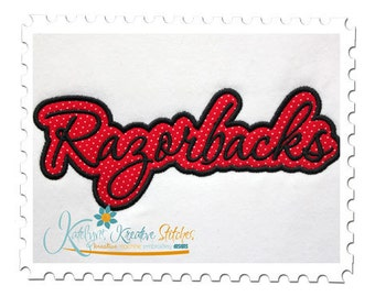 Razorbacks Applique Script