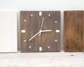 Rustic Wall clock, wood wall clock, 3 piece set, Office Decor, white, earthwood, walnut, minimal decor, modern