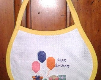 Happy Birthday Baby Bib - Completed Counted Cross Stitch Baby Bib