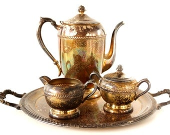 Vintage Silverplate Tea Set with Tea Pot, Tray, Sugar Bowl and Creamer, Unused and Tarnished  (c.1950s) - Collectible | Centerpiece Display