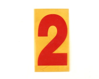 "Vintage Industrial Marquee Sign Number ""2"", Red on Yellow Flexible Plastic (7 inches tall) - Industrial Decor, Art Assemblage Supply"
