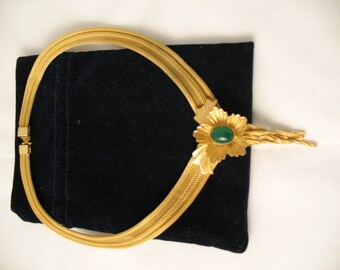 Beautiful Signed  by Continental Gold mesh necklace with green Stone.