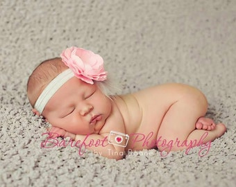 Baby Headband..Baby Flower Headbands..Baby Girl Headband..Pink Flower Headband with Feathers and Rhinestones..Newborn Photoprop..Baby Girl