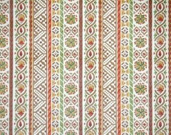Retro Wallpaper by the Yard 70s Vintage Wallpaper - 1970s Orange Brown and Green Geometric Stripe