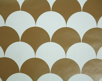 Retro Wallpaper by the Yard 70s Vintage Wallpaper - 1970s Vinyl Brown and White Scalloped Circles Geometric